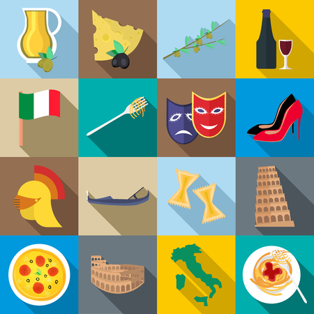 italia: Italia icons set in flat style for any design