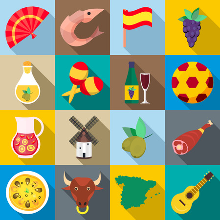 sangria: Spain icons set in flat style for any design