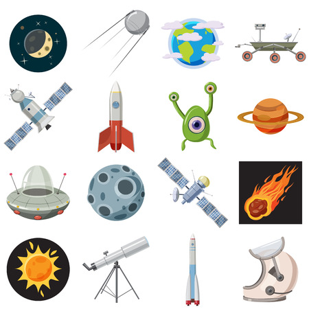 cartoon astronaut: Space icons set in cartoon style isolated on white background