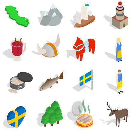 nobel: Sweden icons set in isometric 3d style isolated on white background