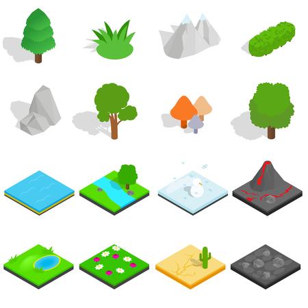 cobblestone street: Landscape icons set in isometric 3d style isolated on white background Illustration