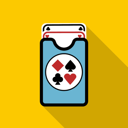jack pack: Deck of playing cards icon in flat style with long shadow Illustration