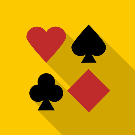 playing card symbols: Set of playing card symbols icon in flat style with long shadow