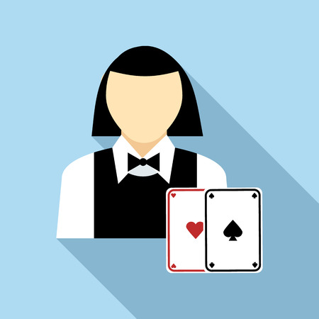 croupier: Pretty croupier woman with cards icon in flat style with long shadow