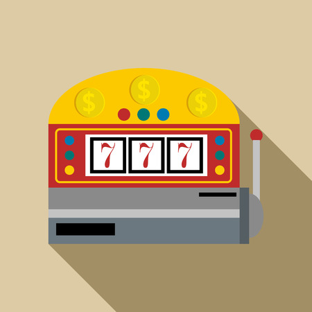 slot in: Slot machine with lucky seven icon in flat style with long shadow