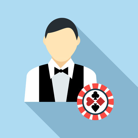 croupier: Casino croupier icon in flat style with long shadow