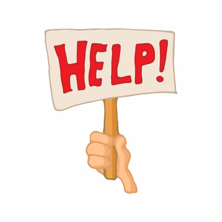 illegally: Sign with the word help in a hand icon in cartoon style on a white background