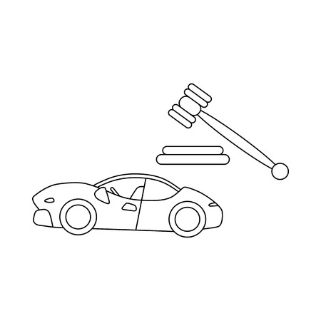 auctioneer: Auction cars icon in outline style isolated on white background. Shopping symbol Illustration