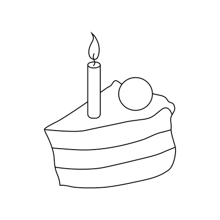 porcion de torta: Piece of cake with candle icon in outline style on a white background