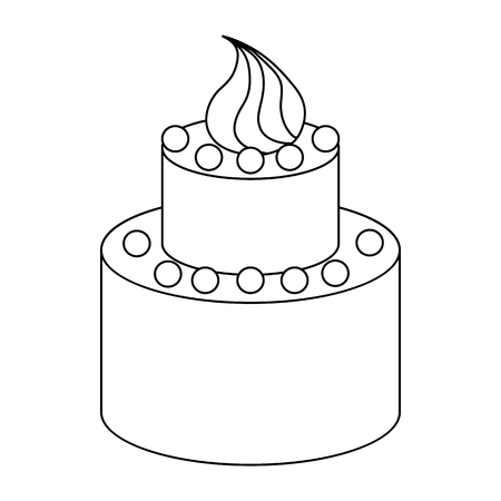 tier: Two tier birthday cake icon in outline style on a white background