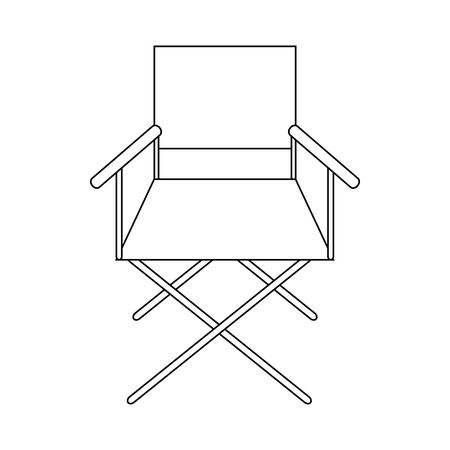 folding screens: Cinema director chair icon in outline style on a white background Illustration