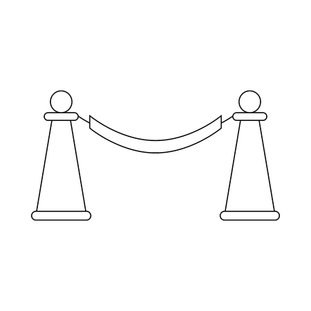 stanchion: Barrier rope icon in outline style on a white background