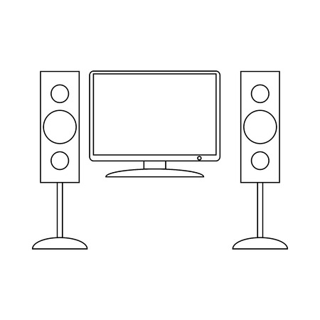 sound speaker: Home cinema with sound speaker icon in outline style on a white background Illustration