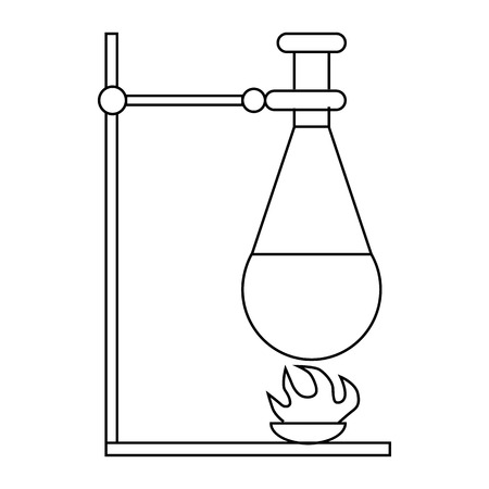 Retort stand, bunsen burner and test flask icon in outline style on a white background