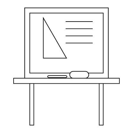 Triangle on a school blackboard icon in outline style on a white background Illustration