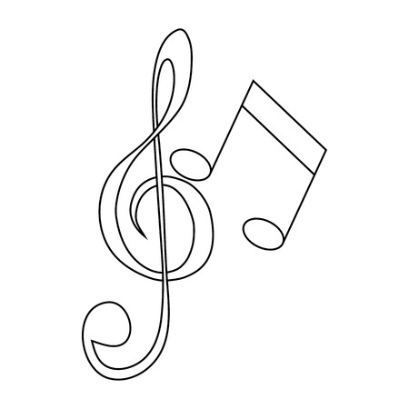 festival scales: Music key and notes icon in outline style on a white background Illustration