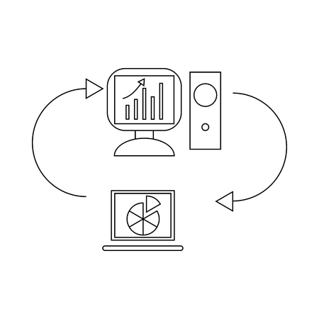 notebook computer: Two laptops with chart and graph, data exchange icon in outline style on a white background Illustration