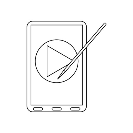 stylus: Digital tablet with a stylus and media player icon in outline style on a white background