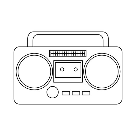boom box: Boom box or radio cassette tape player icon in outline style on a white background Illustration