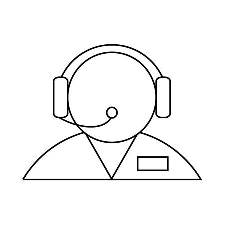 face with headset: Customer support operator with a headset icon in outline style on a white background
