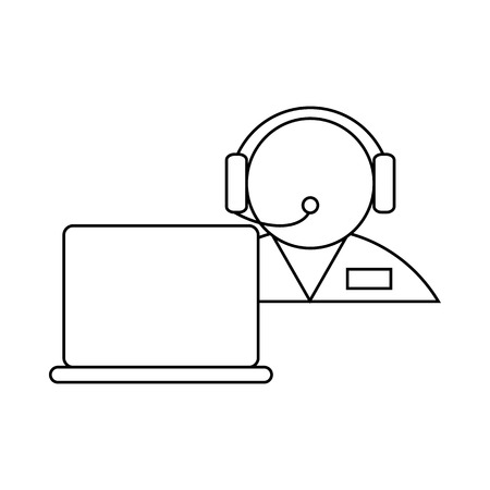 handsfree: Operator in a headset with laptop icon in outline style on a white background
