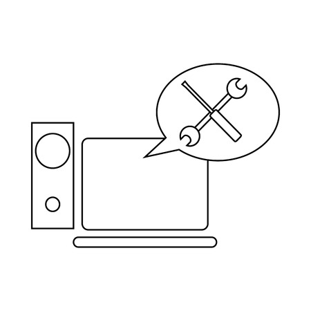 computer repair: Technical support, computer repair icon in outline style on a white background