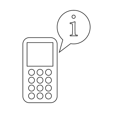 bubble speach: Mobile phone and speach bubble with I letter icon in outline style on a white background Illustration