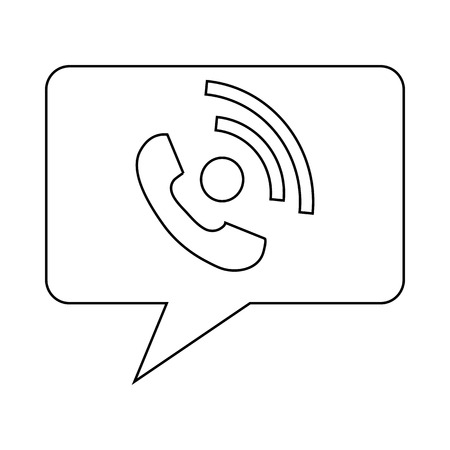 clientele: Speech bubble with handset inside icon in outline style on a white background