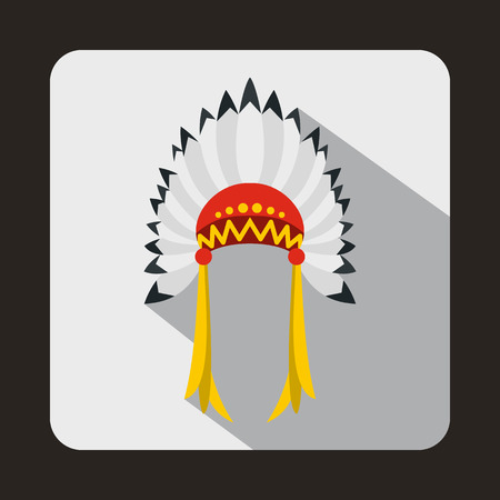 indian headdress: Indian headdress icon in flat style with long shadow. Tribal symbol Illustration