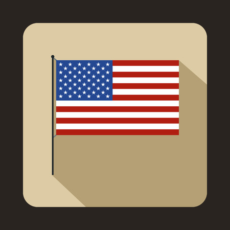 american history: American flag icon in flat style with long shadow. State symbol