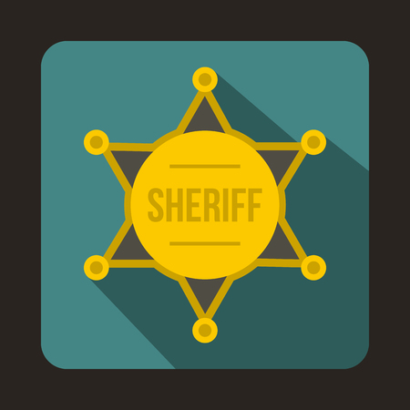 sheriff badge: Sheriff badge icon in flat style with long shadow. Police symbol