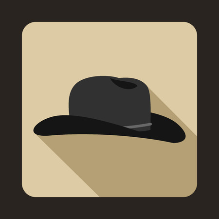 Cowboy hat icon in flat style with long shadow. Headdress symbol