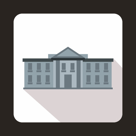 federal election: White house USA icon in flat style with long shadow. State symbol