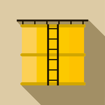 storage tank: Oil storage tank icon in flat style with long shadow Illustration