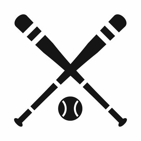 pelota beisbol: bate de béisbol y icono de la bola de forma sencilla aislados sobre fondo blanco