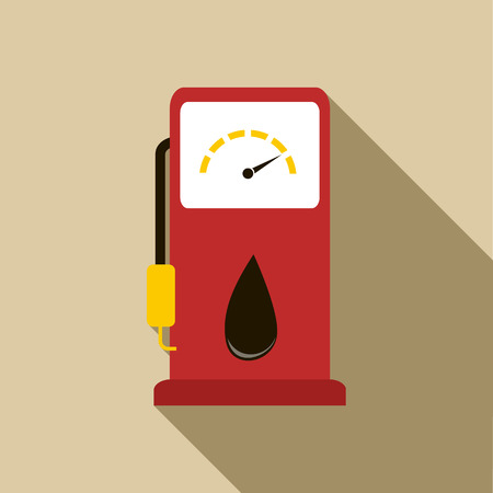 nozzle: Gas station pump with fuel nozzle icon in flat style with long shadow