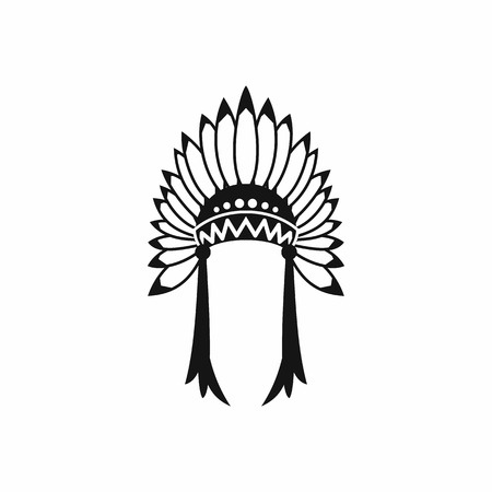 indian headdress: Indian headdress icon in simple style isolated on white background