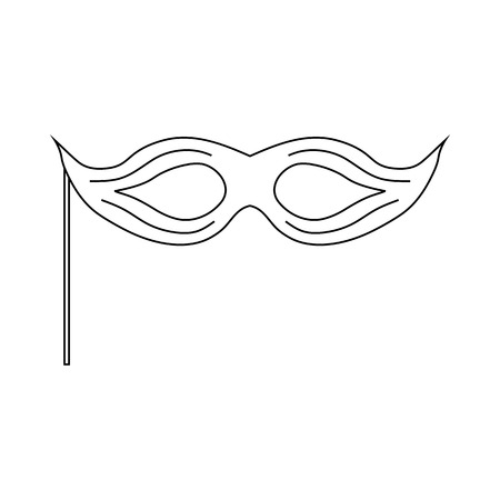 Theatrical mask icon in outline style on a white background