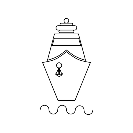 Ship icon in outline style on a white background 向量圖像