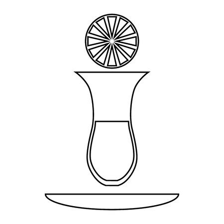 Turkish tea with lemon icon in outline style on a white background