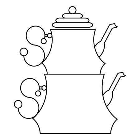 Turkish teapot with the traditional double stacked kettles icon in outline style on a white background
