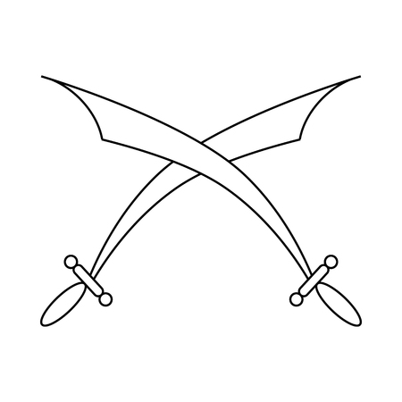 Crossed scimitars icon in outline style on a white background