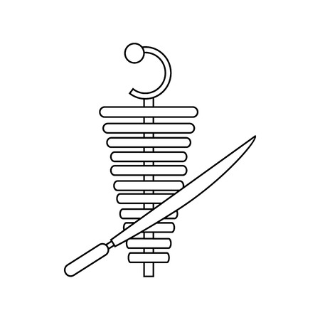 Shawarma meat doner kebab icon in outline style on a white background Illustration