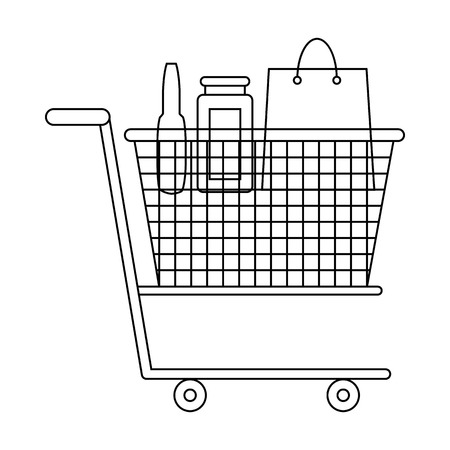 Shopping cart with grocery products icon in outline style on a white background Illustration