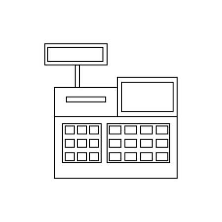 Sale cash register icon in outline style on a white background