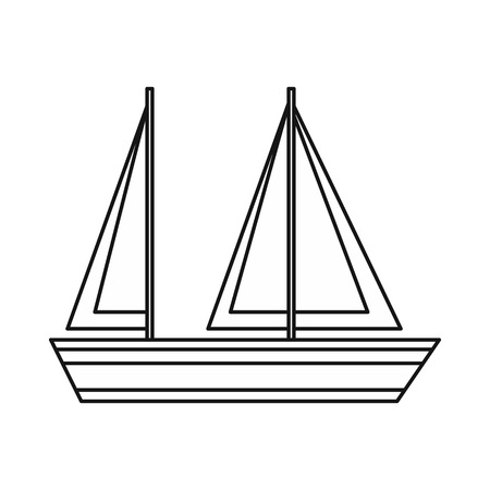 Sailing boat icon in outline style isolated on white background. Sea transport symbol Illustration