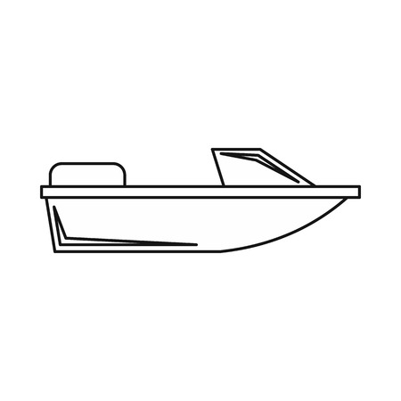 sea transport: Sports powerboat icon in outline style isolated on white background. Sea transport symbol