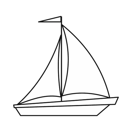 sails: Boat with sails icon in outline style isolated on white background. Sea transport symbol Illustration