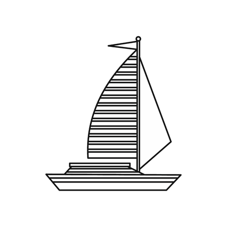 sails: Yacht with sails icon in outline style isolated on white background. Sea transport symbol Illustration