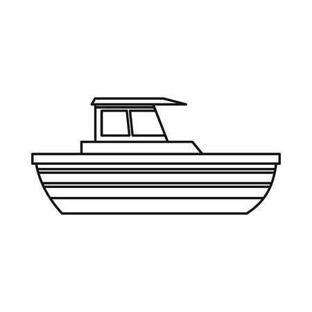 motor boat: Motor boat icon in outline style isolated on white background. Sea transport symbol